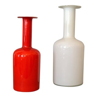 Danish Modern Hand Blown Otto Bauer Gulv Vase in Red & Milk Glass by Holmegaard - A Pair For Sale