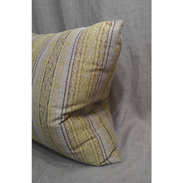 English Etro Stripe Fabric Throw Pillow For Sale - Image 3 of 4