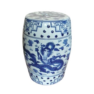 Contemporary Blue and White Dragon Porcelain Garden Stool For Sale
