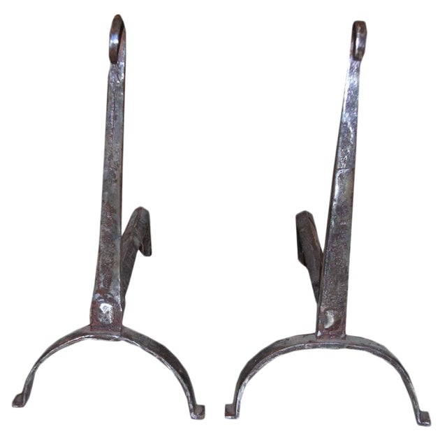 18th Century Scrolled Top Andirons - a Pair For Sale