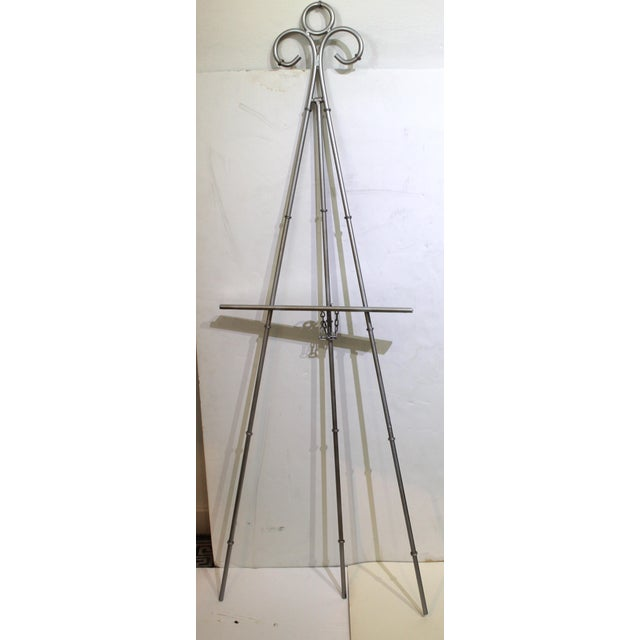 Silver Vintage Display Easel Silver Toned Iron For Sale - Image 8 of 9