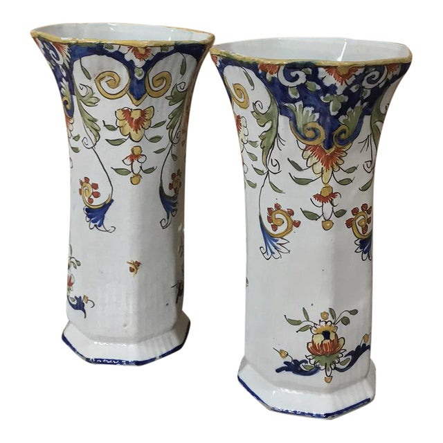 Pair 19th Century French Colorful Hand-Painted Faience Vases From Normandy For Sale