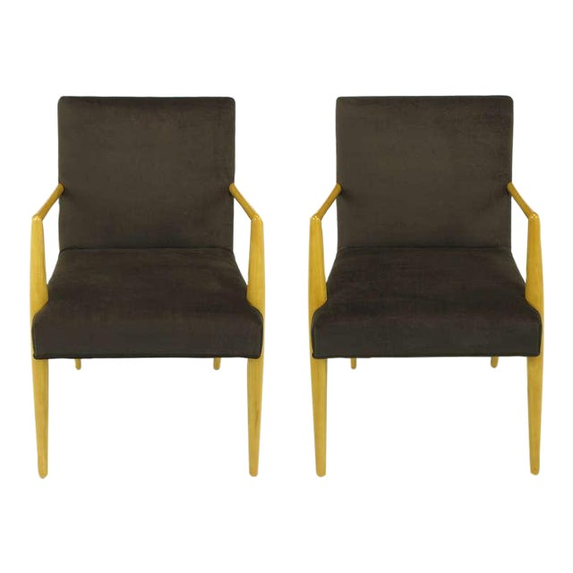 Pair T.H. Robsjohn-Gibbings For Widdicomb Open Arm Chairs. - Image 1 of 10
