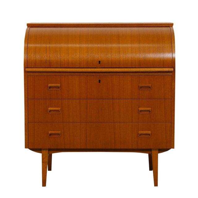 danish modern roll top locking desk dresser chairish. Black Bedroom Furniture Sets. Home Design Ideas