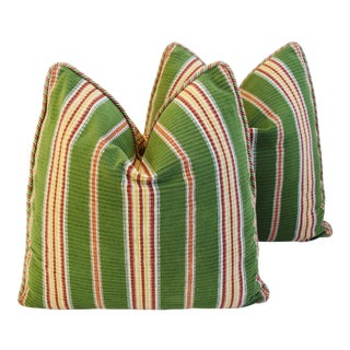 Designer Schumacher Green Velvet Striped Feather/Down Pillows - Pair