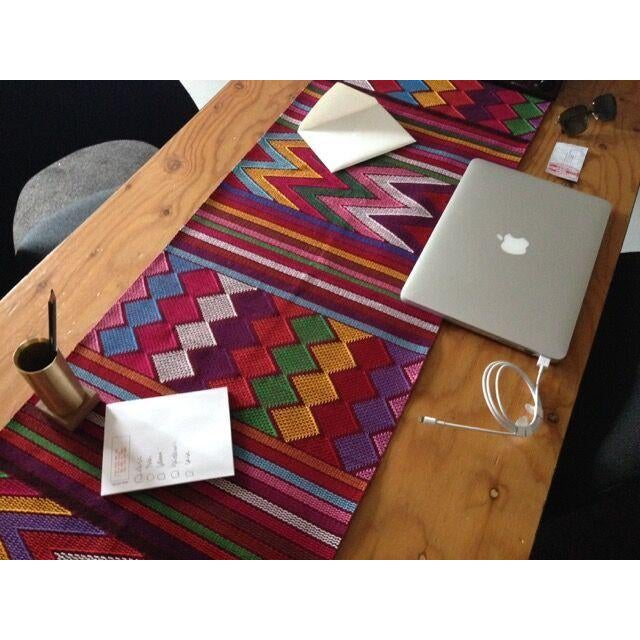 Traditional Chiapas Red Bed Runner or Table Runner For Sale - Image 3 of 6
