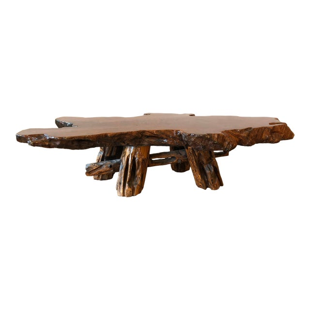 Vintage Boho Chic Beefy Low-Profile Witco Style Raw Edge Coffee Table For Sale