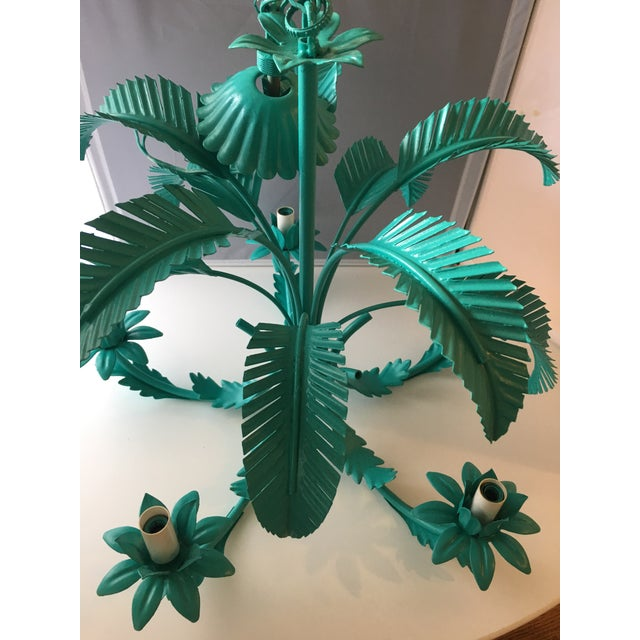 Turquoise Palm Tole Chandelier - Image 5 of 7