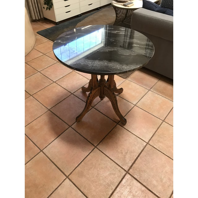 Traditional Vintage Marble and Wood Side Table For Sale - Image 3 of 6