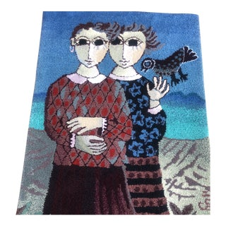 Vintage Yosl. Bergmer Blue Two Figure Mid Century Tapestry For Sale