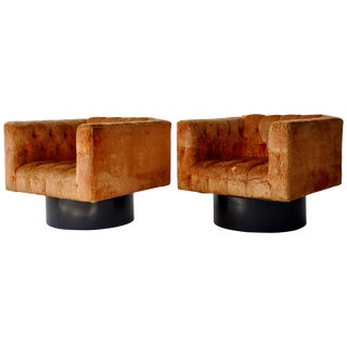 Pair of Swivel Cube Lounge Chairs For Sale