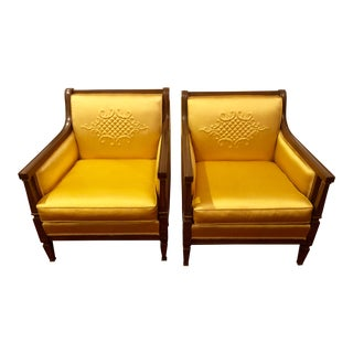 1960s Mid-Century Moder Gold Upholstered Accent Chairs - a Pair For Sale