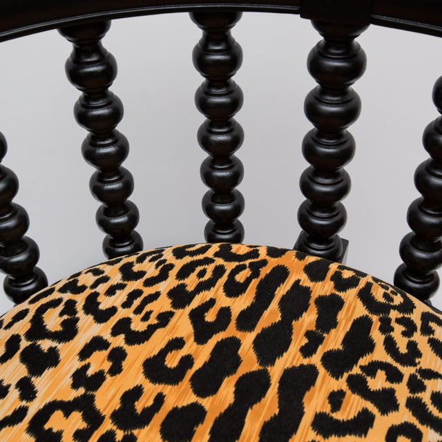 Spindle Back Barrel Faux Leopard Chairs - Pair - Image 7 of 8