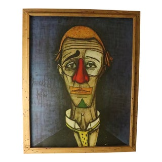 Mid Century Bernard Buffet Style Head of Clown Painting For Sale