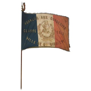 Antique French 1900s Hand-Painted School Flag