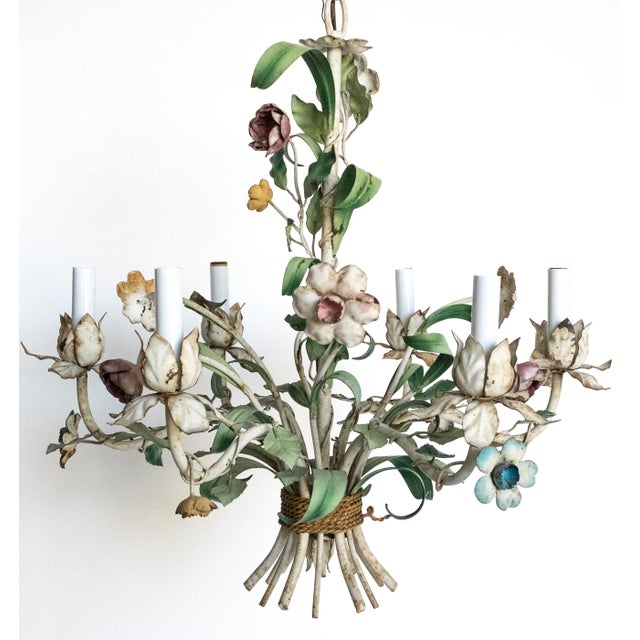 Vintage Shabby Tole Flower Chandelier For Sale - Image 4 of 9