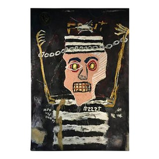 Modernistic Painting After Jean-michel Basquiat, Circa 1980 For Sale