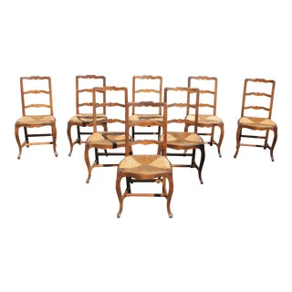 Early 20th C. Vintage French Country Rush Seat Solid Walnut Dining Chairs- Set of 8 For Sale