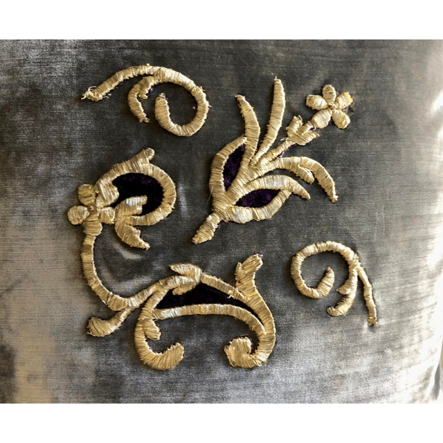 Metal Grey Velvet Pillows Re-Designed With Antique Silver Wire Embroidery- a Pair For Sale - Image 7 of 13