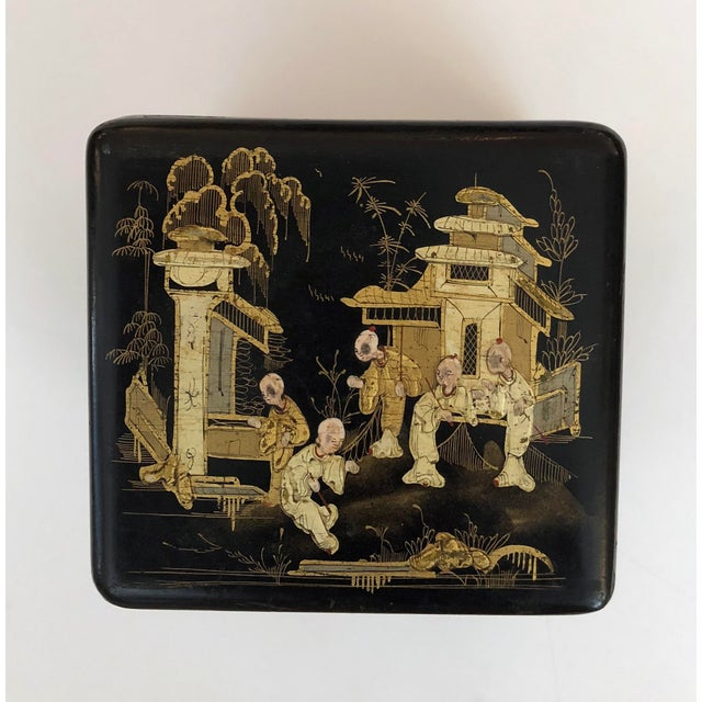 Regency A Charming English Regency Japanned Square-Form Tea Caddy For Sale - Image 3 of 6