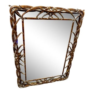 Rare Vintage Faux Bamboo Pecan Tortoiseshell Palm Beach Regency Wall Mirror For Sale