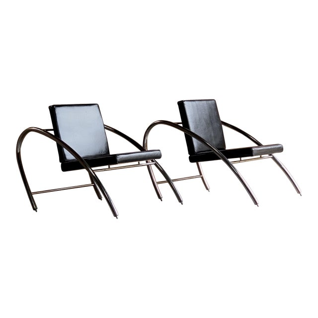 Moreno Chrome & Leather Lounge Chairs by Francois Scali & Alain Domingo for Nemo - A Pair For Sale