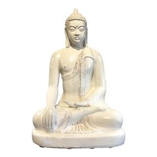 Asian Modern White Cream Glaze Sitting Tara Sculpture For Sale