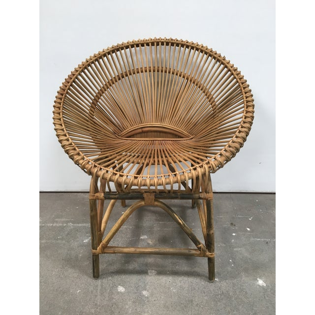 Mid-Century Modern Mid-Century Modern Rattan Circle Chair For Sale - Image 3 of 7