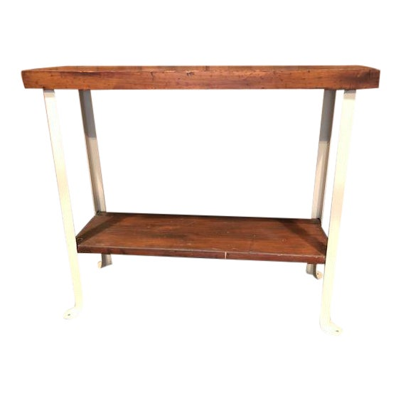 Cottage Style Reclaimed Wood and Metal Sofa Table For Sale