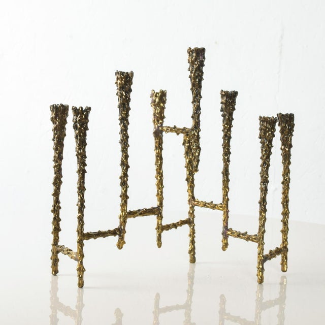 Midcentury Modern Brutalist Tiered Brass Candle Holder For Sale - Image 11 of 11