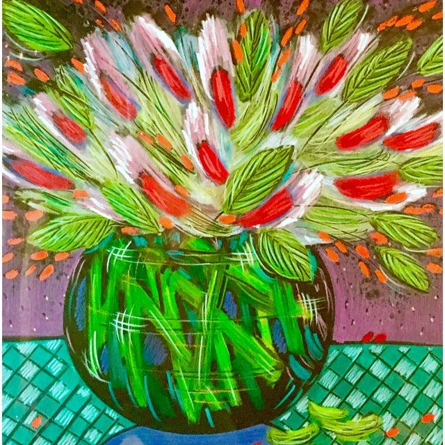 1991 Original Penny Feder Expressionist Floral Monotype Painting- Vintage/Signed For Sale - Image 4 of 13