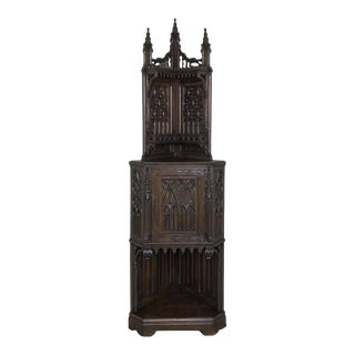 19th Century French Gothic Corner Cabinet For Sale