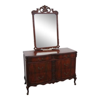 Flame Mahogany Hand Carved Dresser Bathroom Vanity With Mirror 2229 For Sale