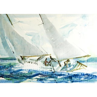 Sailing Watercolor by Frank Lowe For Sale