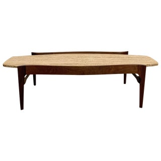 Mid-Century Modern Bertha Schaefer for M. Singer & Sons Travertine Coffee Table For Sale