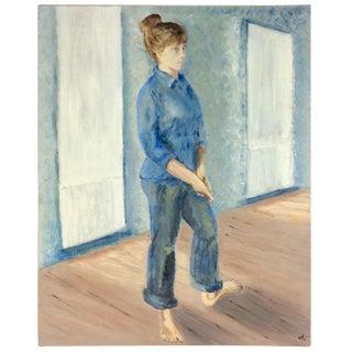 1970s Vintage Woman in Blue Oil Portrait Painting For Sale