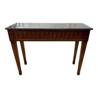 Early 19th Century 1810s Italian Inlaid Console Table + Belgian Bluestone Top For Sale