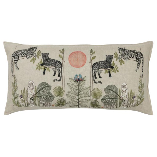 Jungle Motif Lumbar Pillow For Sale