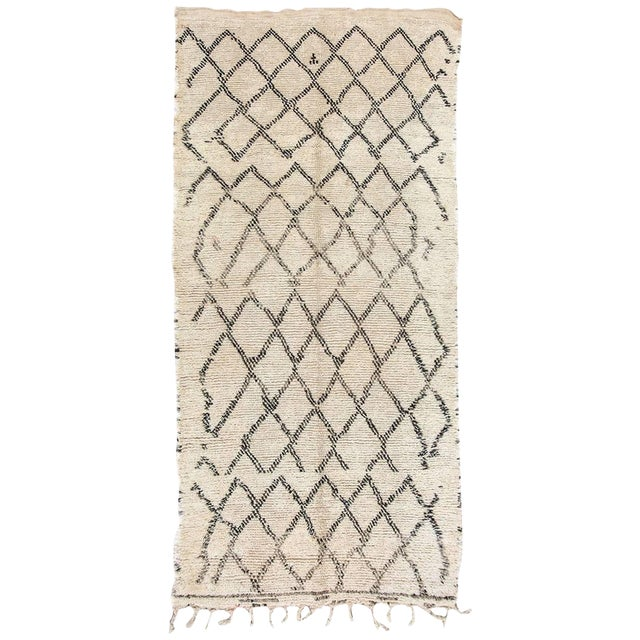 Moroccan Vintage Beni Ouarain Rug North Africa For Sale