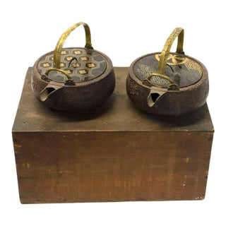 Early 20th Century Japanese Choshi Sake Ewers With Box - a Pair For Sale