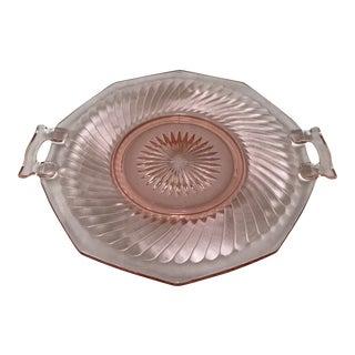 Vintage Pink Depression Glass Etched 2-Handled Serving Plate