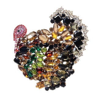 Czech Oversized Turkey Brooch for the Holidays For Sale