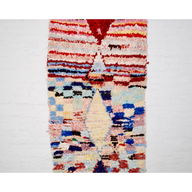 """Abstract Berber Boucherouite Rug - 39"""" x 89"""" For Sale - Image 3 of 6"""