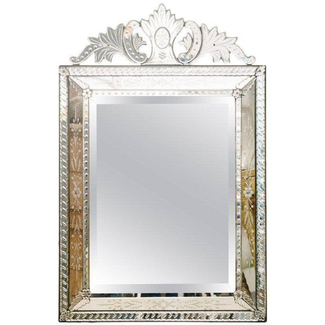 Glass 1920's Venetian Etched and Beveled Glass Mirror For Sale - Image 7 of 8