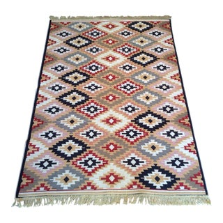 Reversible Colorful Kilim Rug - 3′11″ × 5′11″ For Sale