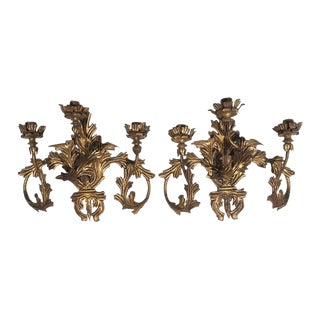 1920s Antique Gilt Tole 3 Arm Hard Wired Sconces Italy - a Pair For Sale