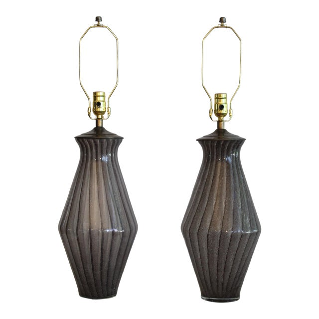 Vintage Modern Tapered Striped Murano Table Lamps - a Pair For Sale