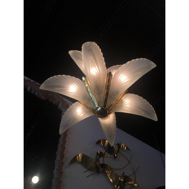 Italian Murano Glass & Brass Palm Tree Frond Leaf Chandelier - Image 5 of 12