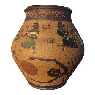 Mid-Century Egyptian Themed Clay Pottery