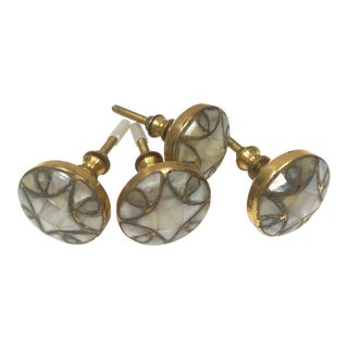 Late 20th Century Vintage Brass and Mother of Pearl Drawer Pulls- Set of 4 For Sale